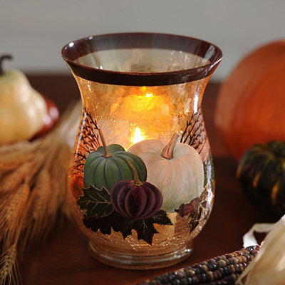 Crackle Glass Pumpkin Hurricane