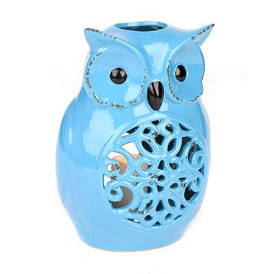 Blue Ceramic Owl Candle Holder