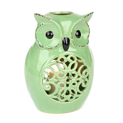 Green Ceramic Owl Candle Holder