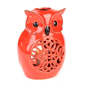 Red Ceramic Owl Candle Holder