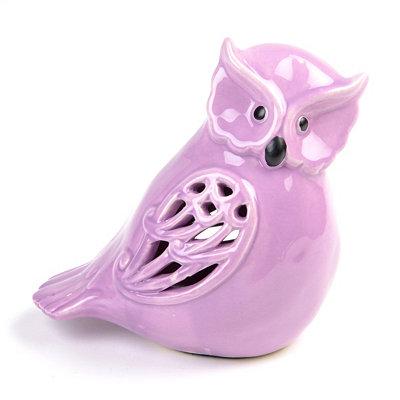 Pierced Lavender Owl Statue