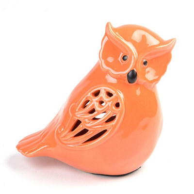 Pierced Orange Owl Statue