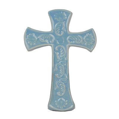 Ornate Blue Ceramic Cross Statue