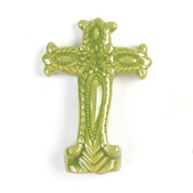 Ornate Green Ceramic Cross Statue