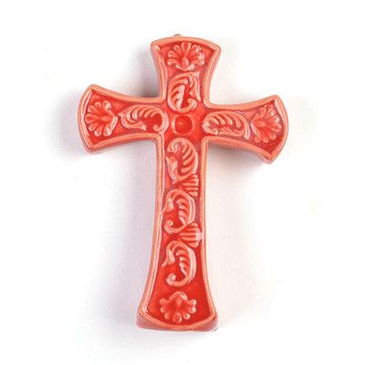 Ornate Red Ceramic Cross Statue