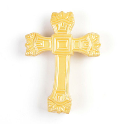 Ornate Yellow Ceramic Cross Statue