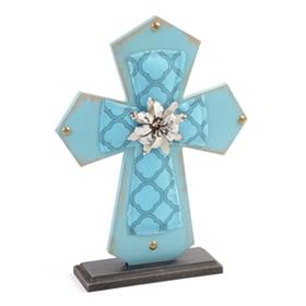 Blue Wood & Burlap Cross Statue