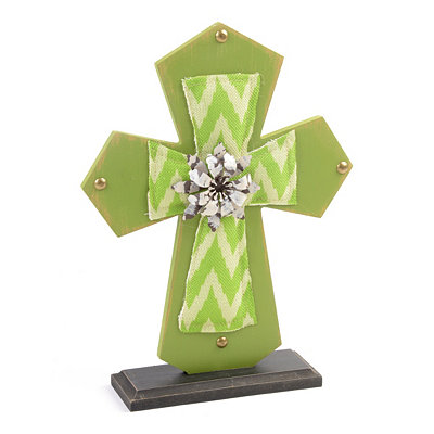 Green Wood & Burlap Cross Statue