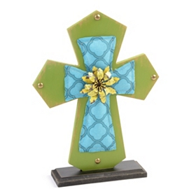 Blue & Green Cross Statue