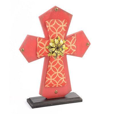 Red Wood & Burlap Cross Statue