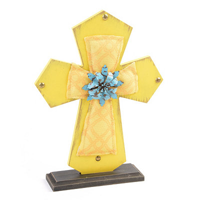 Yellow Wood & Burlap Cross Statue