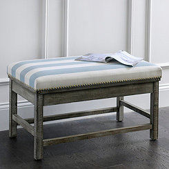 Blue & White Striped Weathered Ottoman