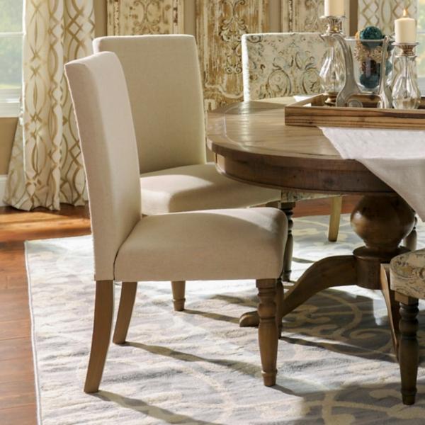 Oatmeal Burlap Parsons Chair
