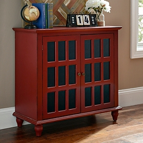 Antique Red Window Pane Cabinet