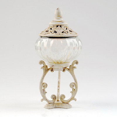 Distressed Ivory Potpourri Jar