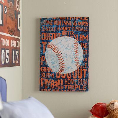 Baseball Words Canvas Art Print