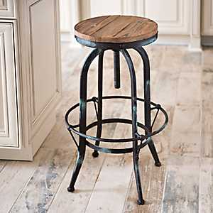 Industrial Black & Aqua Bar Stool