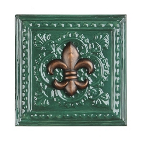 Green Fleur-de-lis Metal Wall Tile