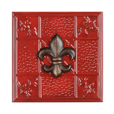 Red Fleur-de-lis Metal Wall Tile