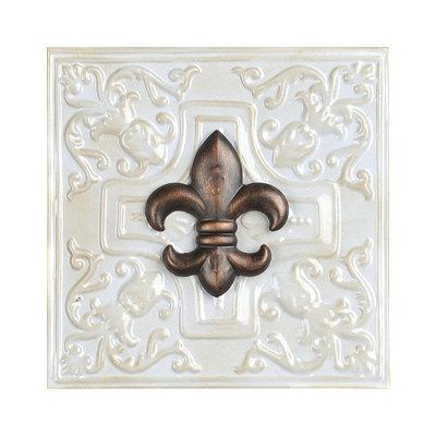 White Fleur-de-lis Metal Wall Tile