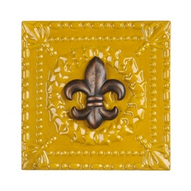 Yellow Fleur-de-lis Metal Wall Tile