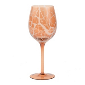Pink Giraffe Print Wine Glass