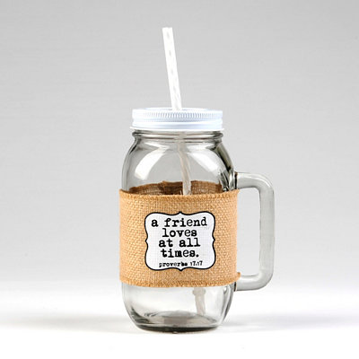A Friend Loves at All Times Mason Jar Mug