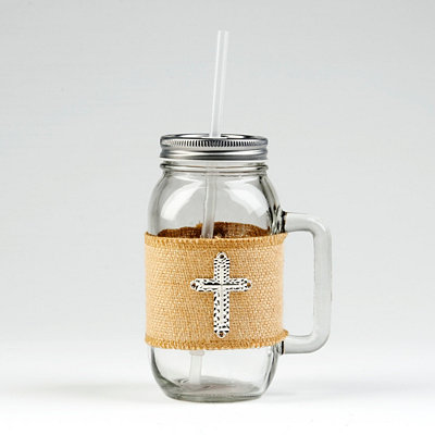 Silver Cross Mason Jar Mug