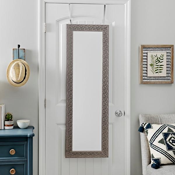 Gentil Silver Metallic Blocks Over The Door Mirror