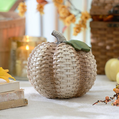 Cream Wicker Pumpkin