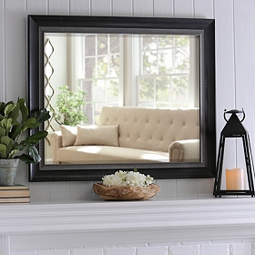 Black & Silver Framed Mirror, 37x47