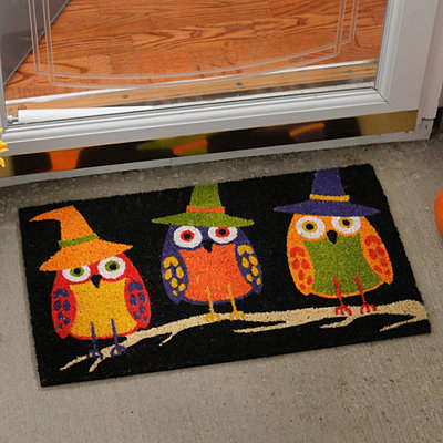 Neon Owl-oween Doormat