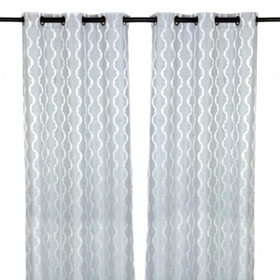 Baroque Ice Blue Curtain Panel Set, 84 in.