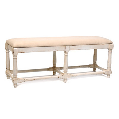 Cream Millie Linen Bench