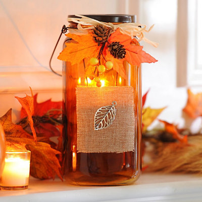 Bountiful Harvest Amber Tealight Candle Holder
