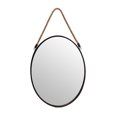 Bronze Oval Mirror with Hemp Rope