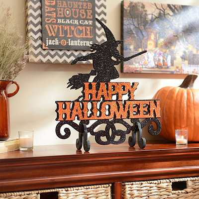 Witch & Broomstick Happy Halloween Sign