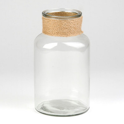 Clear Glass & Rope Vase