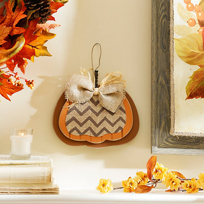 Brown Burlap & Chevron Pumpkin Plaque