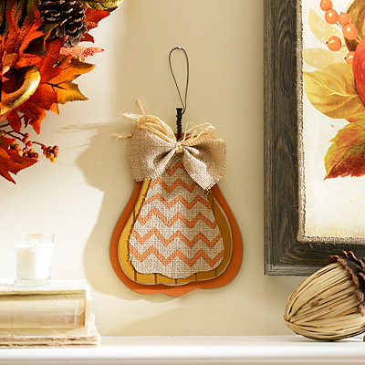 Orange Burlap & Chevron Pumpkin Plaque