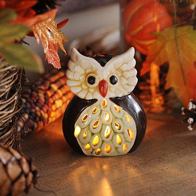 Brown Harvest Hoot Votive Holder