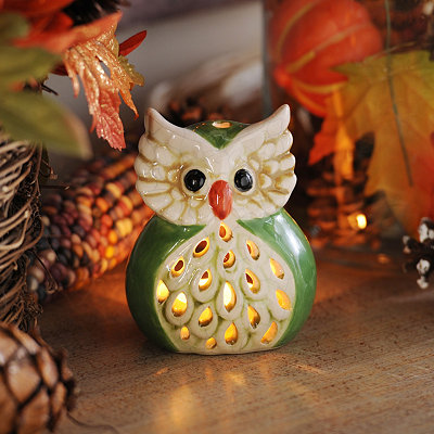 Green Harvest Hoot Votive Holder