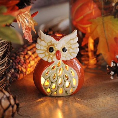 Orange Harvest Hoot Votive Holder