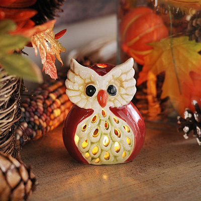 Red Harvest Hoot Votive Holder