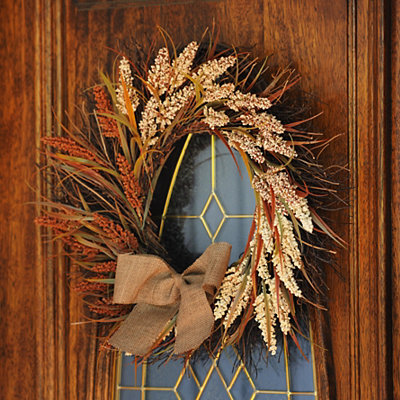 Natural Burlap Wheat Wreath