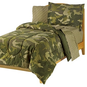 Green Camouflage Full Comforter Set, 7-pc.