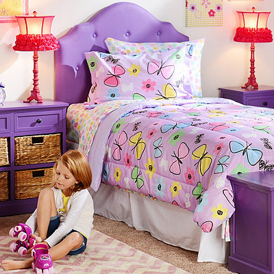 Sweet Butterfly Full Comforter Set, 7-pc.