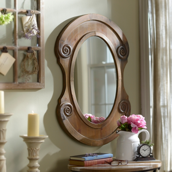 Framed Bathroom Mirrors Rustic rustic natural oval framed mirror, 25x36 in. | kirklands
