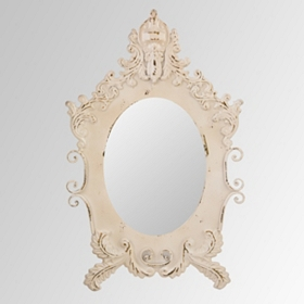 Antiqued White Scrollwork Mirror