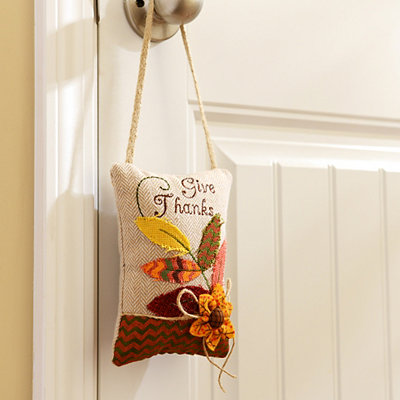 Give Thanks Door Hanger Pillow